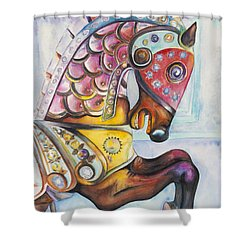 Colorful Carousel Horse  Shower Curtain by Patty Vicknair
