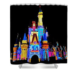 Colorful Castle Shower Curtain by Benjamin Yeager