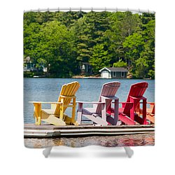 Shower Curtain featuring the photograph Colorful Chairs by Les Palenik