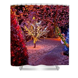 Colorful Christmas Lights On Trees Shower Curtain by Brch Photography