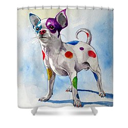 Colorful Dalmatian Chihuahua Shower Curtain
