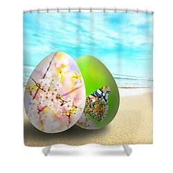 Colorful Easter Eggs On Sunny Beach Shower Curtain by Michal Bednarek