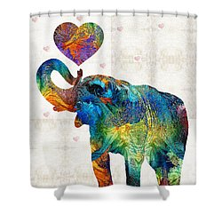 Colorful Elephant Art - Elovephant - By Sharon Cummings Shower Curtain by Sharon Cummings