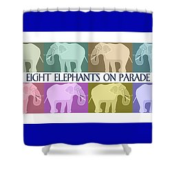 Colorful Elephants Shower Curtain by Marian Cates