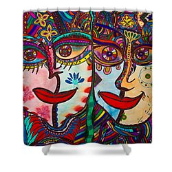Colorful Faces Gazing - Ink Abstract Faces Shower Curtain