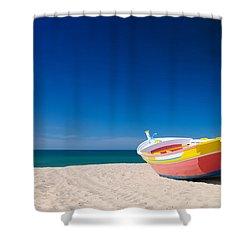 Colorful Fishing Boat Algarve Portugal Shower Curtain by Amanda Elwell