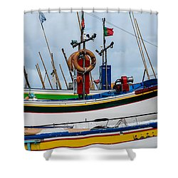colorful fishing boat with Portuguese flag  Shower Curtain
