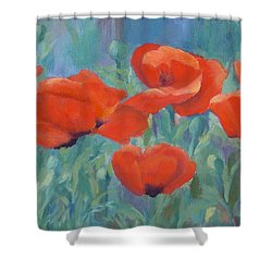 Colorful Flowers Red Poppies Beautiful Floral Art Shower Curtain by Elizabeth Sawyer