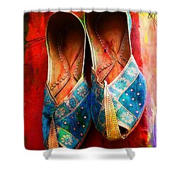 Colorful Footwear Juttis Sales Jaipur Rajasthan India Shower Curtain