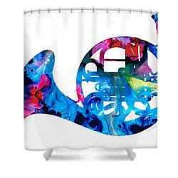 Colorful French Horn 2 - Cool Colors Abstract Art Sharon Cummings Shower Curtain
