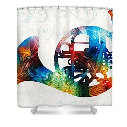 Colorful French Horn - Color Fusion By Sharon Cummings Shower Curtain