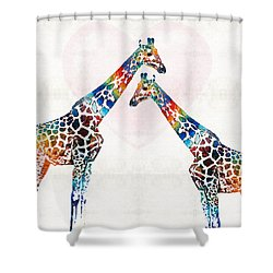 Colorful Giraffe Art - I've Got Your Back - By Sharon Cummings Shower Curtain by Sharon Cummings