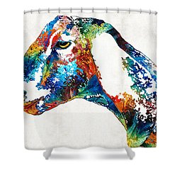 Shower Curtain featuring the painting Colorful Goat Art By Sharon Cummings by Sharon Cummings