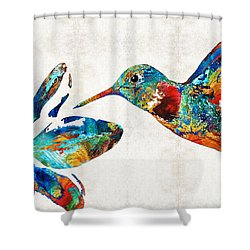 Colorful Hummingbird Art By Sharon Cummings Shower Curtain by Sharon Cummings
