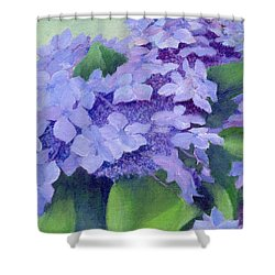 Colorful Hydrangeas Original Purple Floral Art Painting Garden Flower Floral Artist K. Joann Russell Shower Curtain by Elizabeth Sawyer