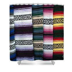 Shower Curtain featuring the photograph Colorful Indian Rug Display by Gunter Nezhoda