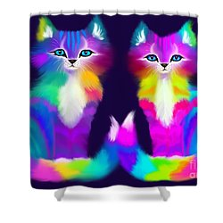 Colorful Kitty Couple Shower Curtain by Nick Gustafson