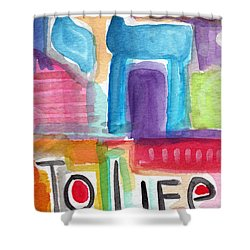 Colorful Life- Abstract Jewish Greeting Card Shower Curtain by Linda Woods