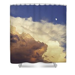 Colorful Orange Magenta Storm Clouds Moon At Sunset Shower Curtain by Keith Webber Jr
