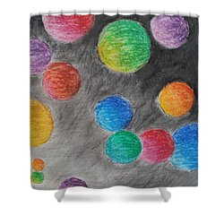 Shower Curtain featuring the drawing Colorful Orbs by Thomasina Durkay