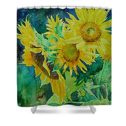 Colorful Original Sunflowers Flower Garden Art Artist K. Joann Russell Shower Curtain by Elizabeth Sawyer