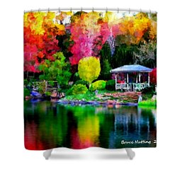 Shower Curtain featuring the painting Colorful Park At The Lake by Bruce Nutting