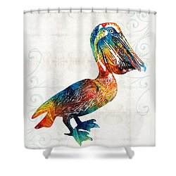 Colorful Pelican Art 2 By Sharon Cummings Shower Curtain by Sharon Cummings