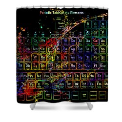 Colorful Periodic Table Of The Elements On Black With Water Splash Shower Curtain