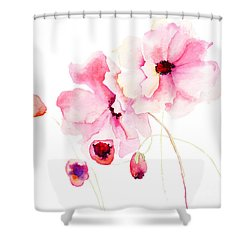Colorful Pink Flowers Shower Curtain