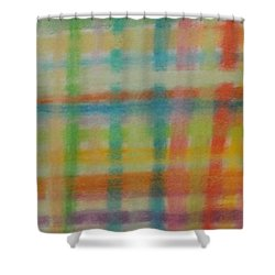 Shower Curtain featuring the drawing Colorful Plaid by Thomasina Durkay