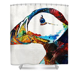 Colorful Puffin Art By Sharon Cummings Shower Curtain by Sharon Cummings