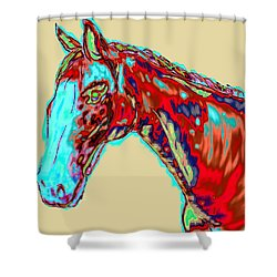Colorful Race Horse Shower Curtain by Mark Moore