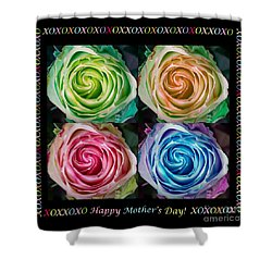 Colorful Rose Spirals Happy Mothers Day Hugs And Kissed Shower Curtain by James BO  Insogna
