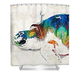 Colorful Sea Turtle By Sharon Cummings Shower Curtain by Sharon Cummings
