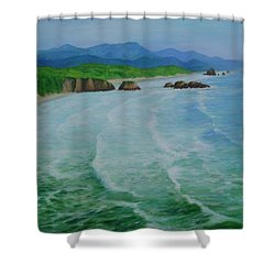 Colorful Seascape Oregon Cannon Beach Ecola Landscape Art Painting Shower Curtain by Elizabeth Sawyer