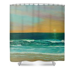 Colorful Sunset Beach Paintings Shower Curtain by Amber Palomares