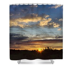 Colorful Sunset Landscape Shower Curtain by Christina Rollo