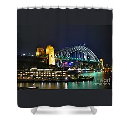 Colorful Sydney Harbour Bridge By Night Shower Curtain