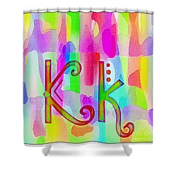 colorful texturized alphabet kk shower curtain by barbara griffin
