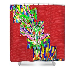 Shower Curtain featuring the photograph Colorful Tree Of Life Abstract Red Sparkle Base by Navin Joshi