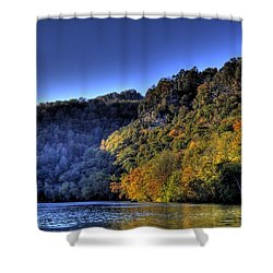 Shower Curtain featuring the photograph Colorful Trees Over A Lake by Jonny D