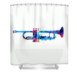 Colorful Trumpet 2 Art By Sharon Cummings Shower Curtain by Sharon Cummings