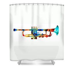 Colorful Trumpet Art By Sharon Cummings Shower Curtain by Sharon Cummings