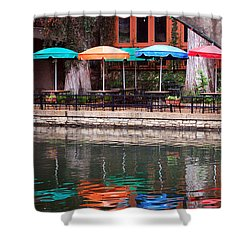 Colorful Umbrellas Reflected In Riverwalk Under Footbridge San Antonio Texas Vertical Format Shower Curtain