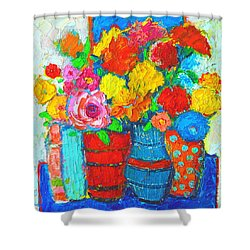 Colorful Vases And Flowers - Abstract Expressionist Painting Shower Curtain