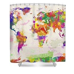 Colorful Watercolor World Map Shower Curtain by Zaira Dzhaubaeva