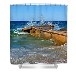Colorful Waves Around Old Pier Shower Curtain by Kaye Menner