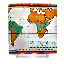 Colorful World Map Of Coffee Shower Curtain