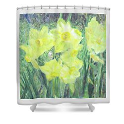 Colorful  Yellow Flowers Shower Curtain