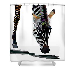 Shower Curtain featuring the digital art Colorful Zebra 2 by Teresa Zieba